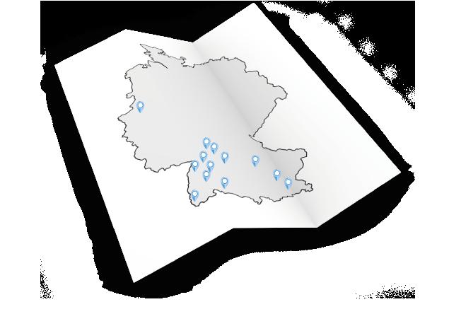 3D Karte mit Standorten