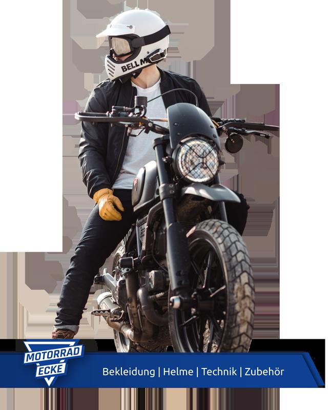 Banner Motorrad-Ecke und Bild eines Motorradfahrers auf einem Motorrad